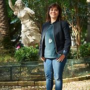 Lisboa, 13/11/2015 - A coordenadora do Bloco de Esquerda Catarina Martins fotografada no jardim da Parada em Campo de Ourique.<br /> (Paulo Alexandrino / Global Imagens)