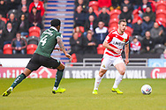 Tommy Rowe of Doncaster Rovers (10) in action during the EFL Sky Bet League 1 match between Doncaster Rovers and Plymouth Argyle at the Keepmoat Stadium, Doncaster, England on 13 April 2019.