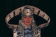 Mongolian fashion show<br /> Modeled on traditional costume<br /> Ulaanbaatar<br /> Mongolia