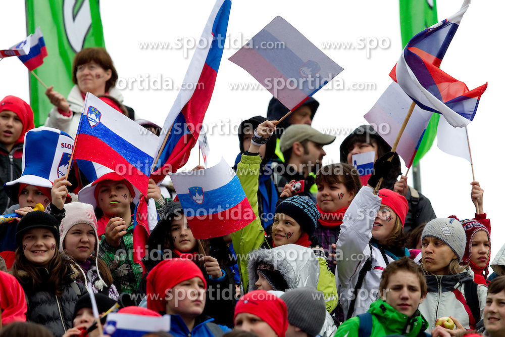Young fans during Flying Hill Individual Qualifications at 1st day of FIS Ski Jumping World Cup Finals Planica 2011, on March 17, 2011, Planica, Slovenia. (Photo by Vid Ponikvar / Sportida)