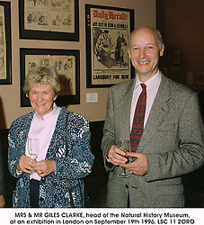 MRS & MR GILES CLARKE, head of the Natural History Museum, at an exhibition in London on September 19th 1996.LSC 11 2ORO