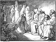Jesus speaking with the woman of Canaan and promising cure for daughter vexed with a devil. 'Bible' Matthew 15.22. Wood engraving of 1865.
