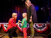 25 APRIL 2019 - CEDAR RAPIDS, IOWA: US Sen. ELIZABETH WARREN (D MA) shakes pinkies with AINSLEY JORDAN, 4 years old, from Marion, IA, after Warren's campaign speech at the Linn Phoenix Club in Cedar Rapids. The Linn Phoenix Club is an organization that promotes Democratic candidates in Linn County, Iowa. Sen. Warren is campaigning in eastern Iowa Thursday night and Friday to promote her bid to the Democratic candidate for the US Presidency. Iowa traditionally hosts the the first selection event of the presidential election cycle. The Iowa Caucuses will be on Feb. 3, 2020.           PHOTO BY JACK KURTZ