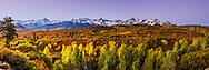 Sunrise panorama at Dallas Divide in the San Juan Mountains of Ridgeway Colorado.<br /> <br /> Panorama print, 3X1 ratio
