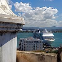 USA, Puerto Rico, San Juan. The MSC Poesia in port at San Juan, Puerto Rico.