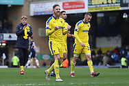 AFC Wimbledon midfielder Scott Wagstaff (7) celebrating during the EFL Sky Bet League 1 match between Southend United and AFC Wimbledon at Roots Hall, Southend, England on 16 March 2019.