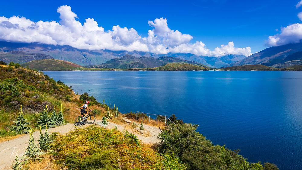Cycling the shore of Lake Wanaka, Otago, South Island, New Zealand