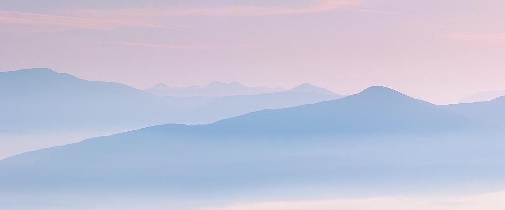 Misty Sunrise Panorama Carrauntuohil and Benetee mountain County Kerry, Ireland / ba080