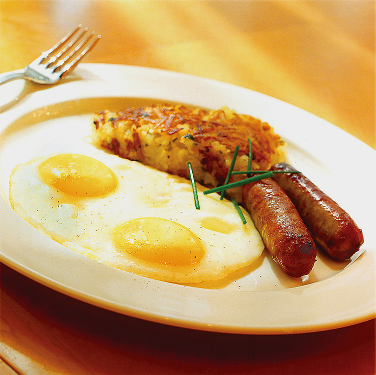 eggs sunny side up with sausages,hash browns,food photographer,miami,<br /> miami food photography,miami food photographer
