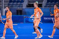 TOKIO -  Roel Bovendeert  en Justen Blok (Ned) spelen hun  eerste Olympische wedstrijd , tijdens de hockeywedstrijd heren, Nederland-Canada (4-2)  tijdens de Olympische Spelen van Tokio 2020  .  COPYRIGHT KOEN SUYK