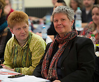 DEU, Deutschland, Germany, Berlin, 10.12.2016: Bundestagsvizepräsidentin Petra Pau und die neue Linken-Landesvorsitzende Katina Schubert beim Landesparteitag von Die Linke im WISTA-Veranstaltungszentrum Adlershof.
