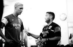 Bristol City head coach, Lee Johnson greats Hordur Magnusson - Mandatory by-line: Joe Meredith/JMP - 10/07/2017 - FOOTBALL - Failand Training Ground - Bristol, United Kingdom - Bristol City Preseason Training