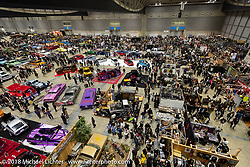 Birds eye view of the 27th Annual Mooneyes Yokohama Hot Rod Custom Show 2018. Yokohama, Japan. Sunday, December 2, 2018. Photography ©2018 Michael Lichter.