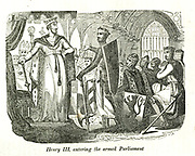 King Henry III entering the armed Parliament from the book History of England : with separate historical sketches of Scotland, Wales, and Ireland; from the invasion of Julius Cæsar until the accession of Queen Victoria to the British throne. By Russell, John, A. M., Published in Philadelphia by Hogan & Thompso in 1844