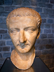 Bust of Emperor Tiberius at the Roman-Germanic Museum in Cologne Germany