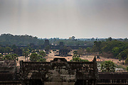 A landscape view over the Angkor Wat ancient temple complex Siem Reap, Cambodia. Angkor Wat is one of UNESCO's world heritage sites. It was built in the 12th century and is Cambodia's main tourist destination.