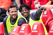 Crystal Palace #7 Yohan Cabaye, Crystal Palace #28 Jason Lokilo during the Premier League match between Liverpool and Crystal Palace at Anfield, Liverpool, England on 19 August 2017. Photo by Sebastian Frej.