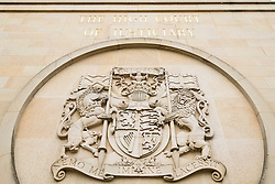 Exterior decoration on walls outside High Court of Justiciary in Glasgow, United Kingdom