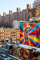 US, New York City. Graffiti near London Terrace. View from the High Line park.