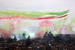 Rome, Italy, 2th june: Italian Air Force's Frecce Tricolori acrobatic squad overfly Rome on the occasion of the 71st anniversary of the Italian Republic's foundation, June 2, 2017