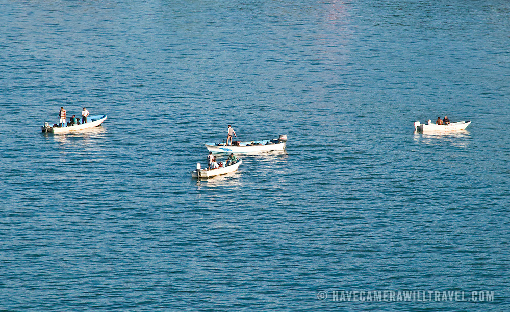 Fishing boats on the water at Zihuatanejo, Mexico
