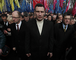 Rally outside the Ukrainian parliament in Kiev, April 2, 2013. Over 6,000 led by Ukrainian political opposition leaders Vitaly Klytchko, Oleg Tyagnybok and Arseny Yatsenyuk rallied outside the Ukrainian parliament on Tuesday to press the lawmakers to schedule the date of new mayoral elections in Kiev. The meeting demands that the election date should be announced at the current parliament session, which ends on April 5. Ukrainian parliament has failed to set the date of the elections during its recent session on mid-March., on April 2, 2013. Photo by Imago / i-Images...UK ONLY..