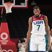 TOKYO, JAPAN August 5:   Kevin Durant #7 of the United States during the Australia V USA semi final basketball match for men at the Saitama Super Arena during the Tokyo 2020 Summer Olympic Games on August 5, 2021 in Tokyo, Japan. (Photo by Tim Clayton/Corbis via Getty Images)