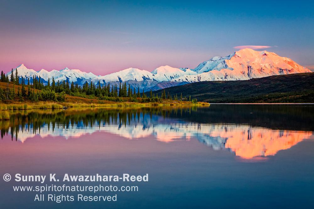 Sunset glow on Mt. Denali (McKinley) reflects on Wonder Lake with pastel sky. Denali National Park & Preserve, Interior Alaska, Autumn.