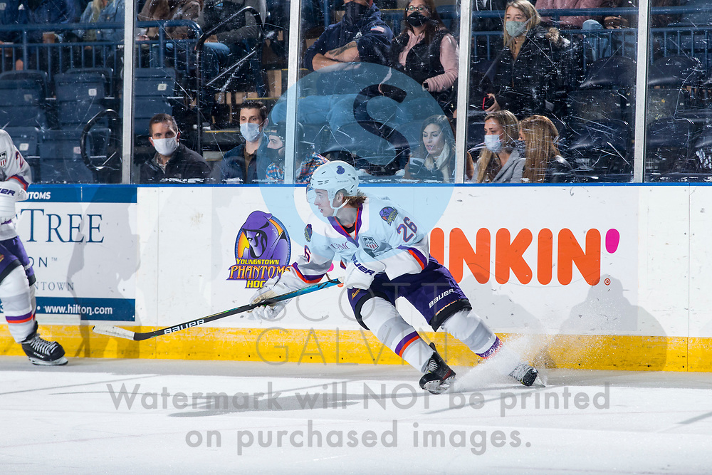 The Youngstown Phantoms defeat the Dubuque Fighting Saints 4-1 at the Covelli Centre on January 9, 2021.<br /> <br /> Kyle Furey, defenseman, 26