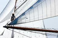 """29SEP09 Les Voiles De St Tropez 2009..The bowmanon the 1928 55m Herreshoff build """"Elena""""."""