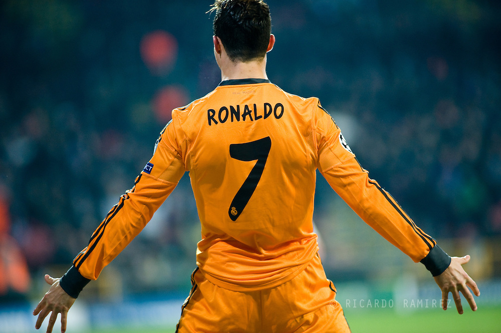 10.12.2013. Copenhagen, Denmark. UEFA Champions League Group B, FC Copenhagen 0 vs. Real Madrid 2. Cristiano Ronaldo of Real Madrid made the second goal during the UEFA Champions League macht at the Parken Stadium.Photo: © Ricardo Ramirez.