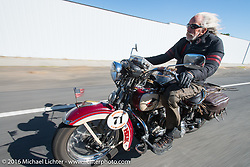 Dan Kraft riding his 1934 Harley-Davidson VL during Stage 15 (244 miles) of the Motorcycle Cannonball Cross-Country Endurance Run, which on this day ran from Lewiston, Idaho to Yakima, WA, USA. Saturday, September 20, 2014.  Photography ©2014 Michael Lichter.