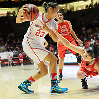 031114  Adron Gardner/Independent<br /> <br /> Shiprock Chieftain Tanisha Begay (23), left, protects possession from a diving Robertson Cardinal Celeste Trujillo (33) during the state high school basketball tournament at The Pit in AlbuquerqueTuesday.