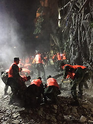 Aug. 9, 2017 - Jiuzhaigou, China - Rescuers work at a quake-hit tourist site in Zhangzha town, Jiuzhaigou County, southwest China's Sichuan Province. A 7.0-magnitude earthquake struck a remote area in southwest China's Sichuan Province Tuesday night, leaving at least five people dead and more than 60 injured.  (Credit Image: © Zheng Lei/Xinhua via ZUMA Wire)