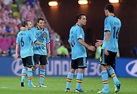 Fotball<br /> EM 2012<br /> 18,06.2012<br /> Spania v Kroatia<br /> Foto: Witters/Digitalsport<br /> NORWAY ONLY<br /> <br /> Schlussjubel v.l. Andres Iniesta, Cesc Fabregas, Xavi Hernandez, Sergio Busquets (Spanien)<br /> Fussball EURO 2012, Vorrunde, Gruppe C,  Kroatien - Spanien 0:1