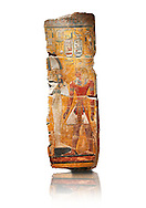 Egyptian painting on stucco of the defied Pharaoh Amenhotep I . 11152-1145BC, Thebes, Grab Nr 359. Neues Reiche Museum, Berlin. Cat No AM2061 .<br /> <br /> If you prefer to buy from our ALAMY PHOTO LIBRARY  Collection visit : https://www.alamy.com/portfolio/paul-williams-funkystock/ancient-egyptian-art-artefacts.html  . Type -   Neues    - into the LOWER SEARCH WITHIN GALLERY box. Refine search by adding background colour, subject etc<br /> <br /> Visit our ANCIENT WORLD PHOTO COLLECTIONS for more photos to download or buy as wall art prints https://funkystock.photoshelter.com/gallery-collection/Ancient-World-Art-Antiquities-Historic-Sites-Pictures-Images-of/C00006u26yqSkDOM