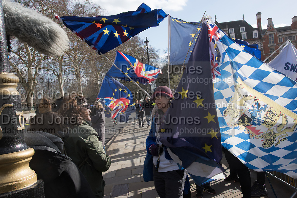 remainers being interviewed Parliament, London. 11 March 2019