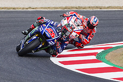 June 9, 2017 - Barcelona, Catalonia, Spain - MotoGP - Maverick Vinales(Spa), Movistar Yamaha Motogp Team and Danilo Petrucci(Ita), Octo Pramac Racing Team during the MotoGp Grand Prix Monster Energy of Catalunya, in Barcelona-Catalunya Circuit, Barcelona on 9th June 2017 in Barcelona, Spain. (Credit Image: © Urbanandsport/NurPhoto via ZUMA Press)