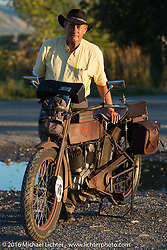 The oldest Motorcycle Cannonball rider on the earliest bike - Victor Boocock with his 1914 Harley-Davidson during Stage 11 (289 miles) of the Motorcycle Cannonball Cross-Country Endurance Run, which on this day ran from Grand Junction, CO to Springville, UT., USA. Tuesday, September 16, 2014.  Photography ©2014 Michael Lichter.
