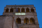 A sign celebrating Matera as Cultural capital for 2019