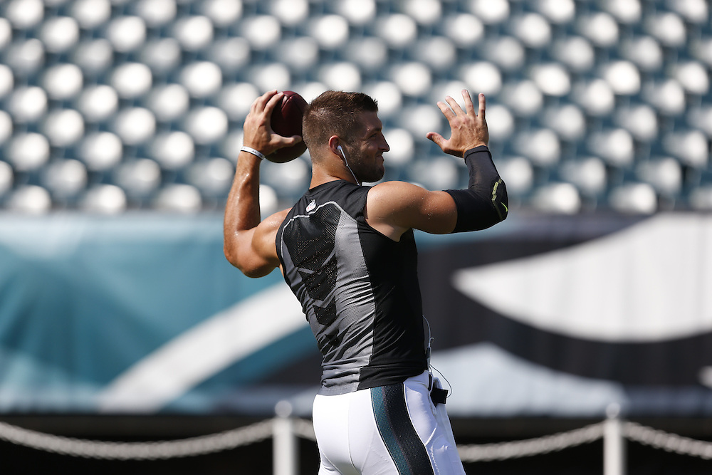 Philadelphia Eagles quarterback Tim Tebow #11 warms up before the Indianapolis Colts v Philadelphia Eagles NFL Preseason game at Lincoln Financial Field in Philadelphia on Sunday, August 9th 2015. (Brian Garfinkel/Philadelphia Eagles)