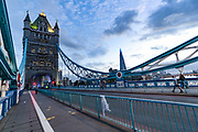 Tower Bridge remained stuck open, leaving hundreds of people and vehicles stranded in central London on Saturday, Aug 22, 2020. The famous crossing failed to close after allowing a ship to pass along the River Thames on Saturday afternoon. In 2005, police closed the bridge for 10 hours after a technical problem meant the arms could not be lowered. The south wing of the bridge is still stuck to this hour 2100. (VXP Photo/ Vudi Xhymshiti)
