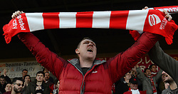 A Bristol City fan celebrates the 1-2 win against Crawley Town at the final whistle  - Photo mandatory by-line: Dougie Allward/JMP - Mobile: 07966 386802 - 07/03/2015 - SPORT - Football - Crawley - Broadfield Stadium - Crawley Town v Bristol City - Sky Bet League One
