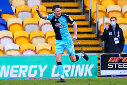 Paul Mullin of Cambridge United celebrates his second goal of the game - Mandatory by-line: Ryan Crockett/JMP - 20/02/2021 - FOOTBALL - One Call Stadium - Mansfield, England - Mansfield Town v Cambridge United - Sky Bet League Two