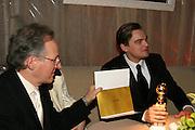 Michael Mann & Leonardo Di Caprio.**EXCLUSIVE**.2005 Golden Globe Awards Miramax Post Party.Beverly Hilton Hotel.Beverly Hills, CA, USA.Sunday, January, 16, 2005.Photo By Selma Fonseca Celebrityvibe.com, New York, USA, Phone 212-410-5354, email:sales@celebrityvibe.com...