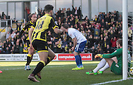 Burton substitute No.18 Tyler Walker celebrates after scoring the equalizer in the the Sky Bet League 1 match between Burton Albion and Bury at the Pirelli Stadium, Burton upon Trent, England on 2 April 2016. Photo by Nigel Cole.