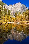Yosemite Falls and fall color from the Merced River, Yosemite National Park, California
