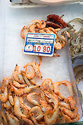 Cooked prawns on ice at fishmongers at Playa Blanca, Lanzarote, Canary Islands, Spain