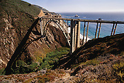 Northern California Coast: Big Sur, Highway 1, Bixby Creek Bridge. Pacific Ocean.