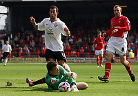 Photo: Rich Eaton.<br /> <br /> Wrexham v Hereford United. Coca Cola League 2. 24/09/2006. Wrexhams goalkeeper  denies Hereford striker Stuart Fleetwood